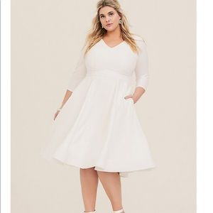 Torrid Special Occasion Ivory Fit and Flare Dress